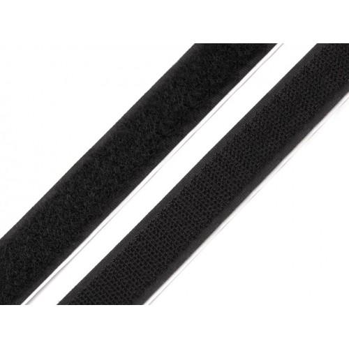Suchý zips samolepiaci šírka 20mm čierny komplet