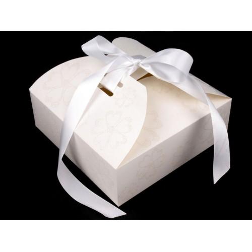 Papierová krabička so stuhou a glitrami 21x21x7 cm
