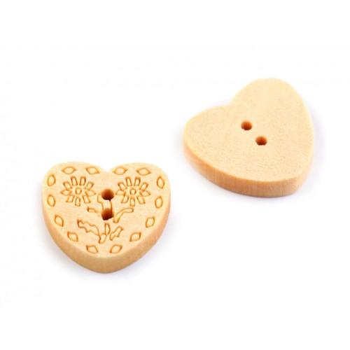 Drevený gombík srdce veľkosť 24