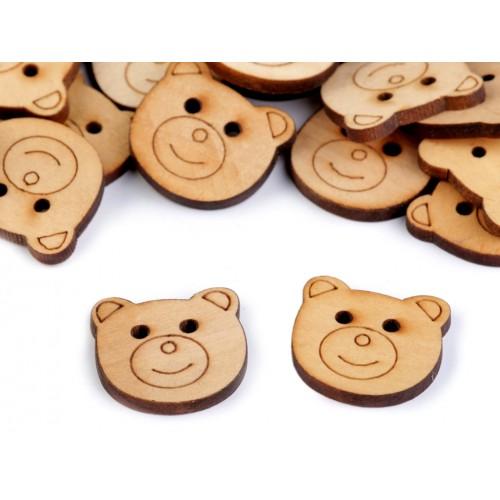 Drevený gombík veľkosť 38 medveď