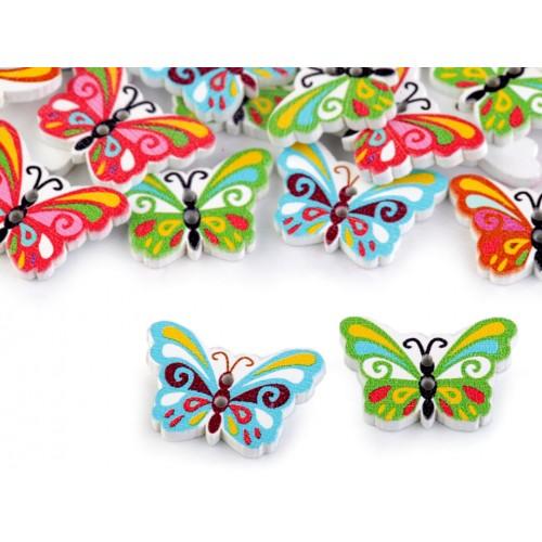Drevený dekoračný gombík motýľ