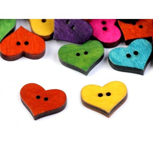 Drevený dekoračný gombík srdce