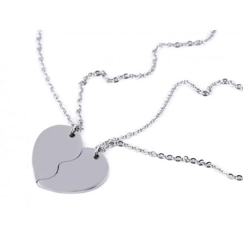 Sada náhrdelníkov z nerezovej ocele rozpolené srdce