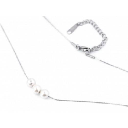 Náhrdelník z nerezovej ocele s perlami