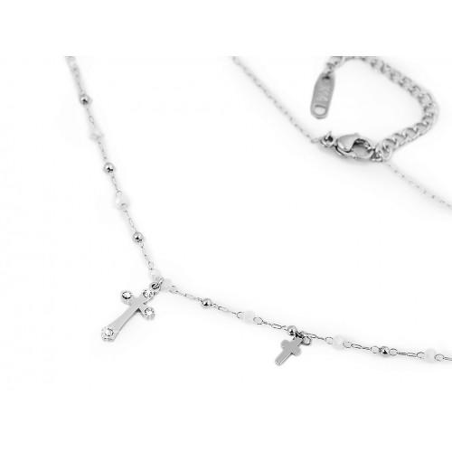 Náhrdelník z nerezovej ocele krížik s brúsenými kamienkami