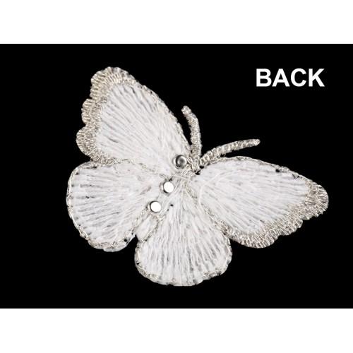 Textilná aplikácia motýľ s perlami vyšívaný malý