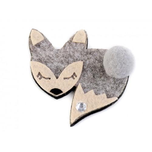 Textilná aplikácia líška s kamienkom