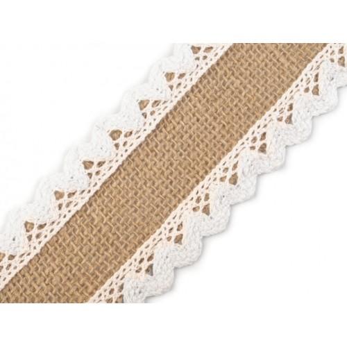 Jutová stuha s bavlnenou čipkou šírka 54 mm