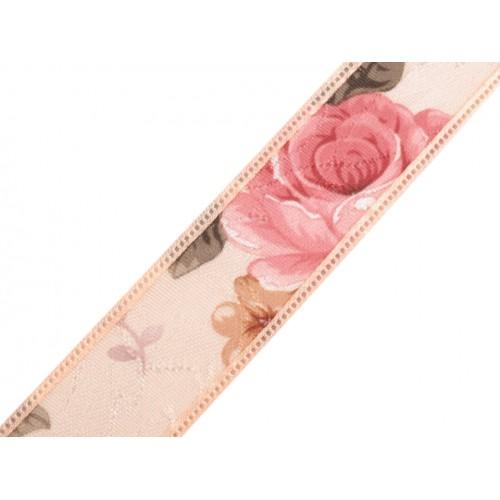 Stuha so šípkovou ružou šírka 25 mm