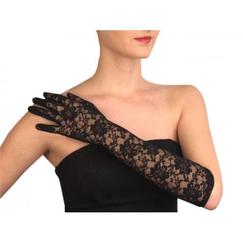 Spoločenské rukavice 43 cm čipkové