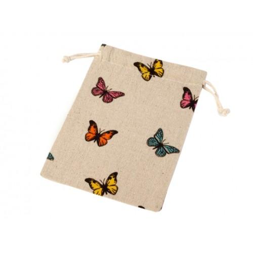 Ľanové vrecko s motýľmi 13x18 cm