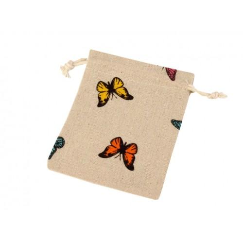 Ľanové vrecko s motýľmi 12x13 cm