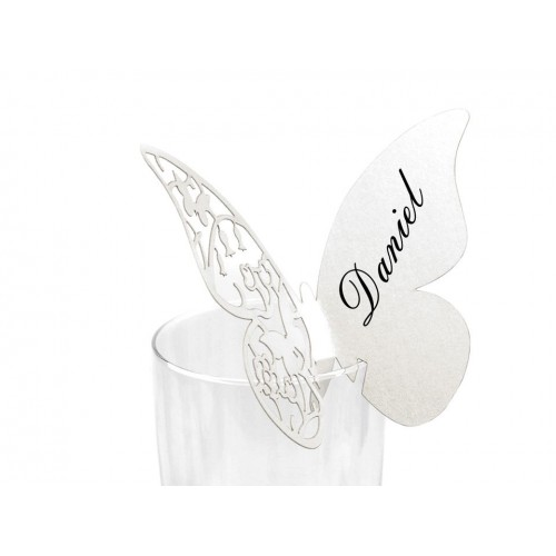 Menovka na poháre 75x105 mm motýľ