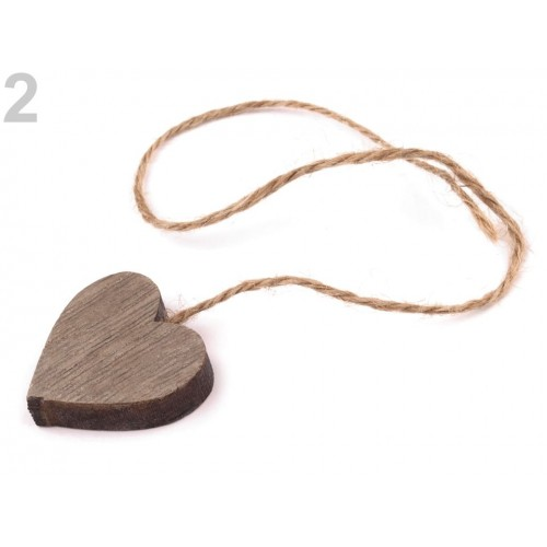 Drevené srdce 3x3 cm s motúzikom