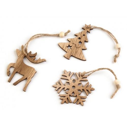 Vianočná drevená vločka, strom, sob