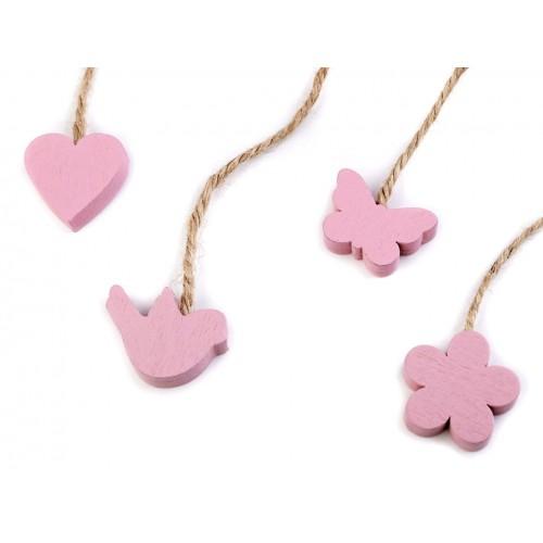 Drevený vtáčik, motýľ, kvet, srdce s motúzikom - ružové