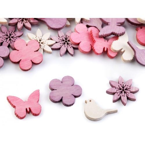 Drevený kvet, vtáčik, motýľ menší