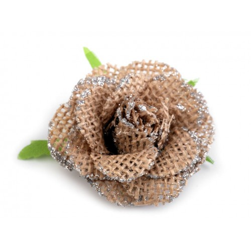 Jutový kvet s glitrami Ø55 mm