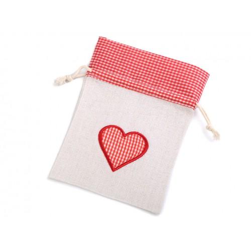 Darčekové vrecúško srdce 12,5x17,5 cm