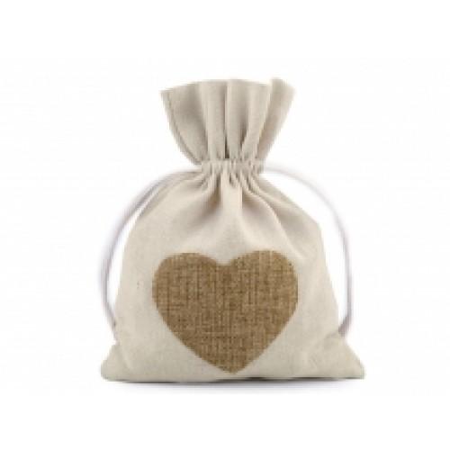 Bavlnené vrecko srdce 13x18 cm