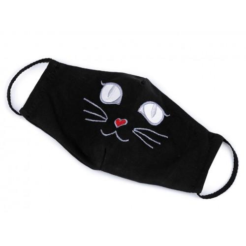 Rúško mačička s gumičkou za uši dvojvrstvové